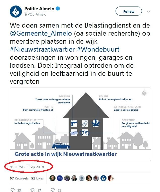 6110a21a58d Of zou de oorzaak liggen bij de politie zelf? Op Twitter verschijnt  achtenhalf uur voor de inval deze tweet: